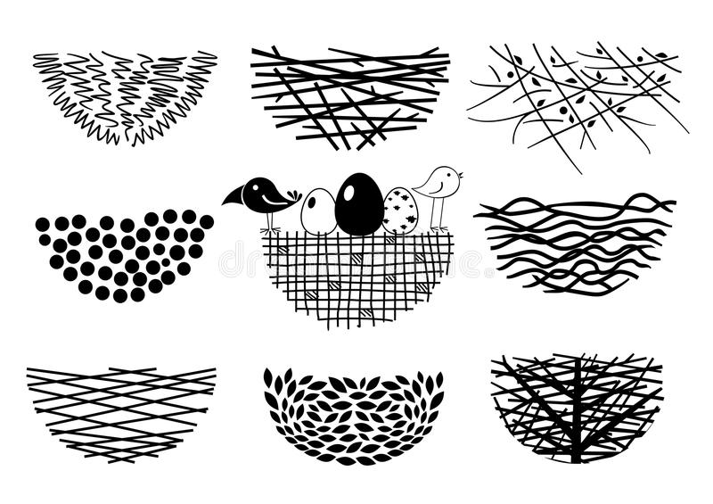 Set bird nests icons vector illustration
