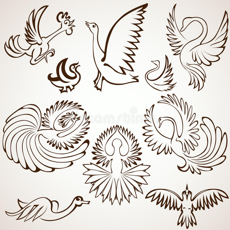 Set bird silhouette collection royalty free illustration