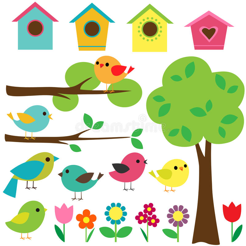 Set of birds. Set birds with birdhouses, trees and flowers