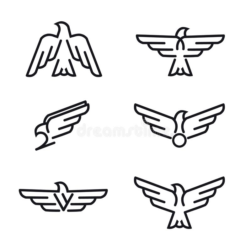 Set of birds predator line icons, isolated on white background. Logo for your project. Vector illustration royalty free illustration