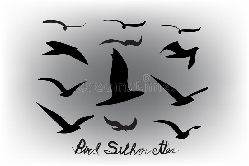 Set of birds silhouettes vector icon royalty free illustration