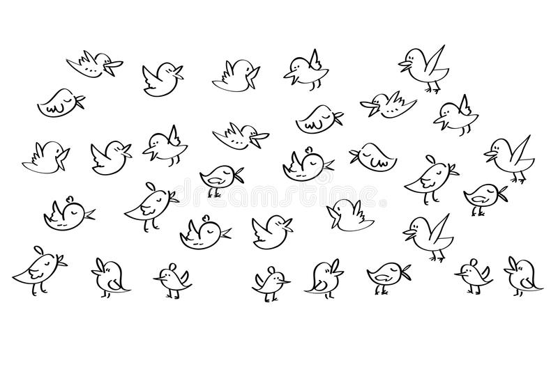 Set of birds tweet on a white background vector illustration