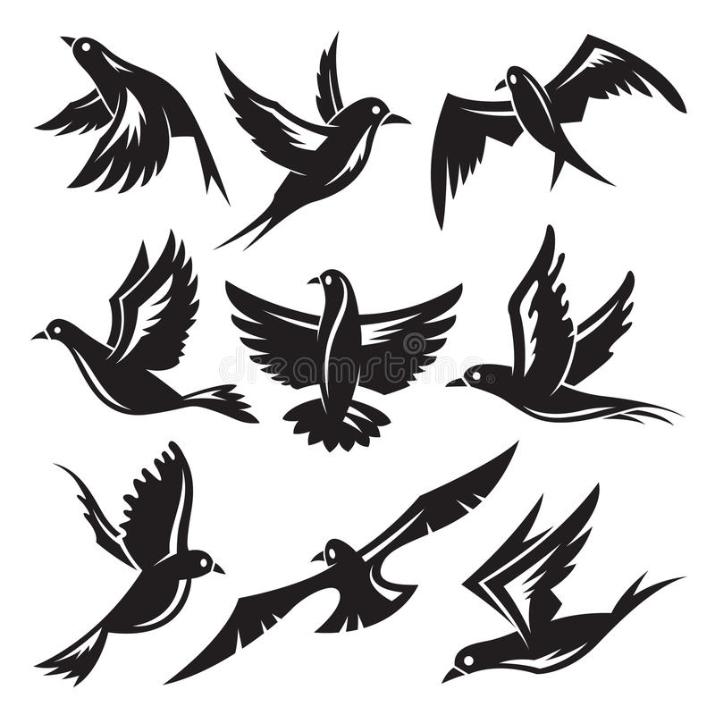 Download Set of birds stock vector. Image of icon, dove, nature - 31240776
