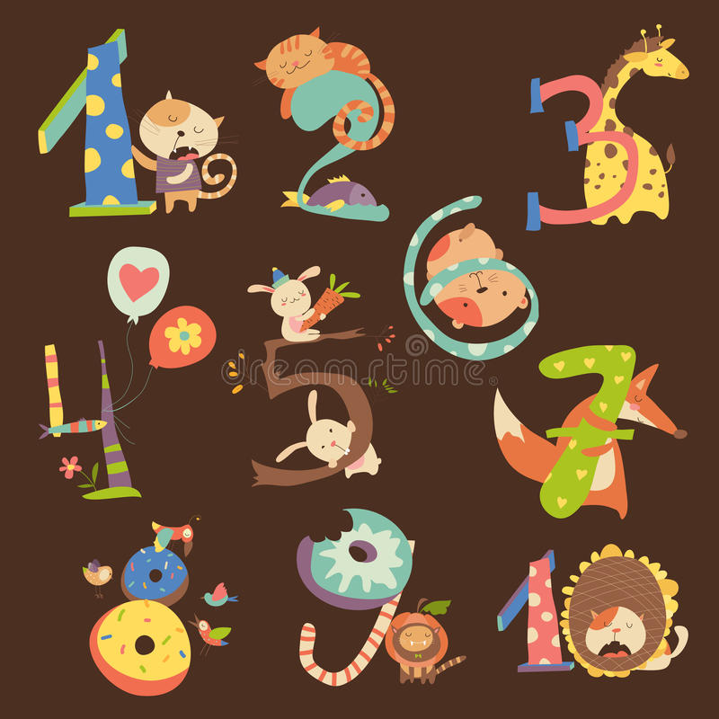 Set of Birthday Anniversary Numbers with Funny Animals royalty free illustration