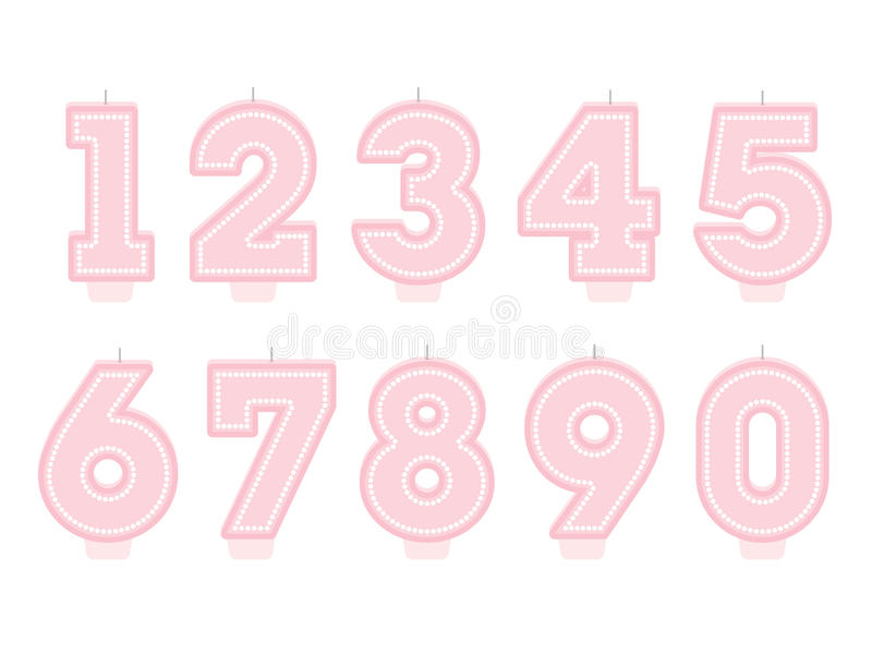 Set of birthday candles. Number shapes stock illustration