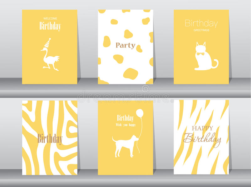 Set of birthday cards,poster,template,greeting cards,cake,bird,Vector illustrations. Set of birthday cards,poster,template,greeting cards,cake,bird vector illustration