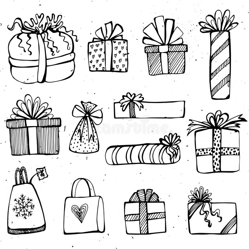 Set of birthday and christmas present boxes. Isolated on white background vector illustration