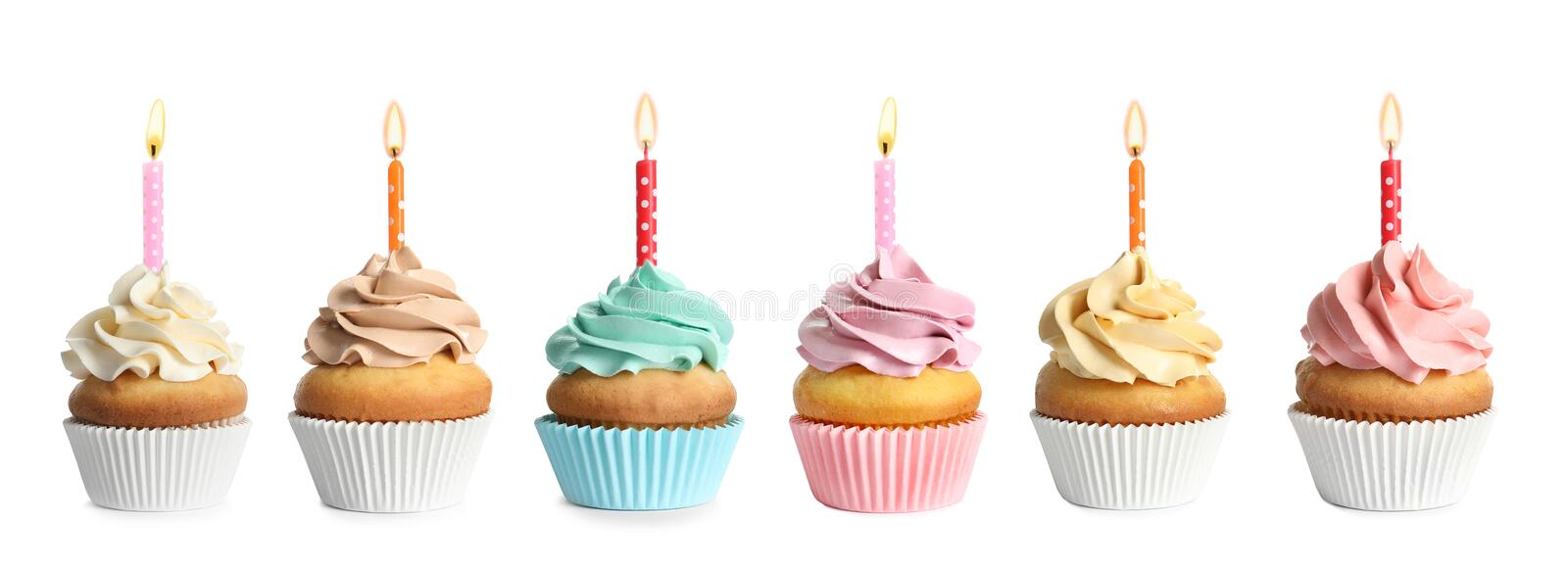 Set with birthday cupcakes and burning candles royalty free stock photo