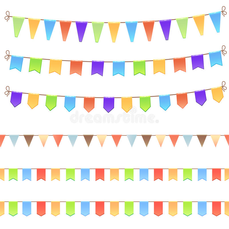 Download Set of birthday flags stock vector. Image of object, waving - 34090969