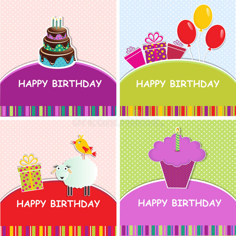 Set of birthday greeting card. Four different templates birthday greeting card for your design. EPS 10 a Layered vector illustration
