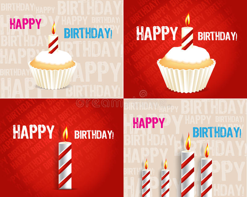 Set of Birthday Greeting cards. With candle royalty free illustration