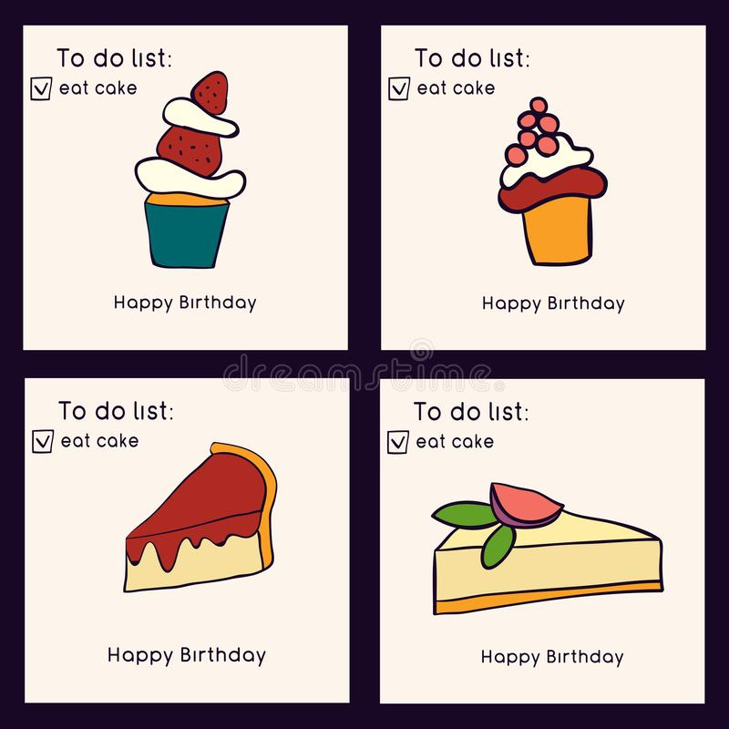 Set of birthday greeting cards. Doodle style collection of cakes. Sweets and pastries. Vector illustration vector illustration