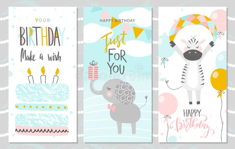 Set of Birthday greeting cards and party invitation templates with cute elephant, Zebra and cake. Vector illustration.  vector illustration