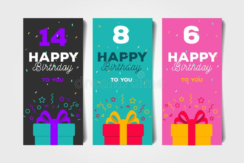 Set of Birthday Greeting flyers with ift box and age number. Set of Birthday Greeting flyers with ift box and bold typography with age number stock illustration