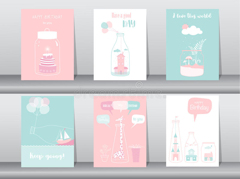 Set of birthday invitations cards,poster,greeting,template,bottle,home,house,Vector illustrations. Set of birthday invitations cards,poster,greeting,template royalty free illustration