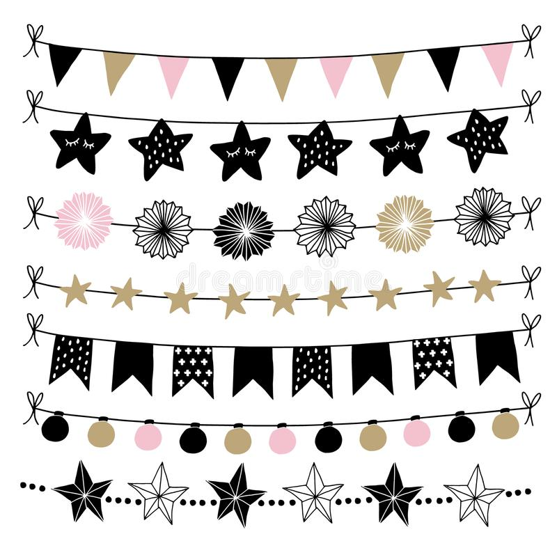 Set of birthday, New Year decorative borders, strings, garlands, brushes. Party decoration with Christmas balls, baubles. Light bulbs. Bunting flags and paper vector illustration