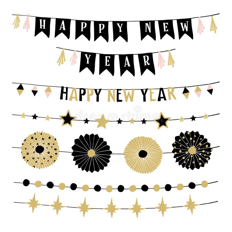 Set of birthday or New Year decorative borders, strings or garlands. Party decoration with stars, bunting flags and. Paper rosettes, black and gold isolated royalty free illustration