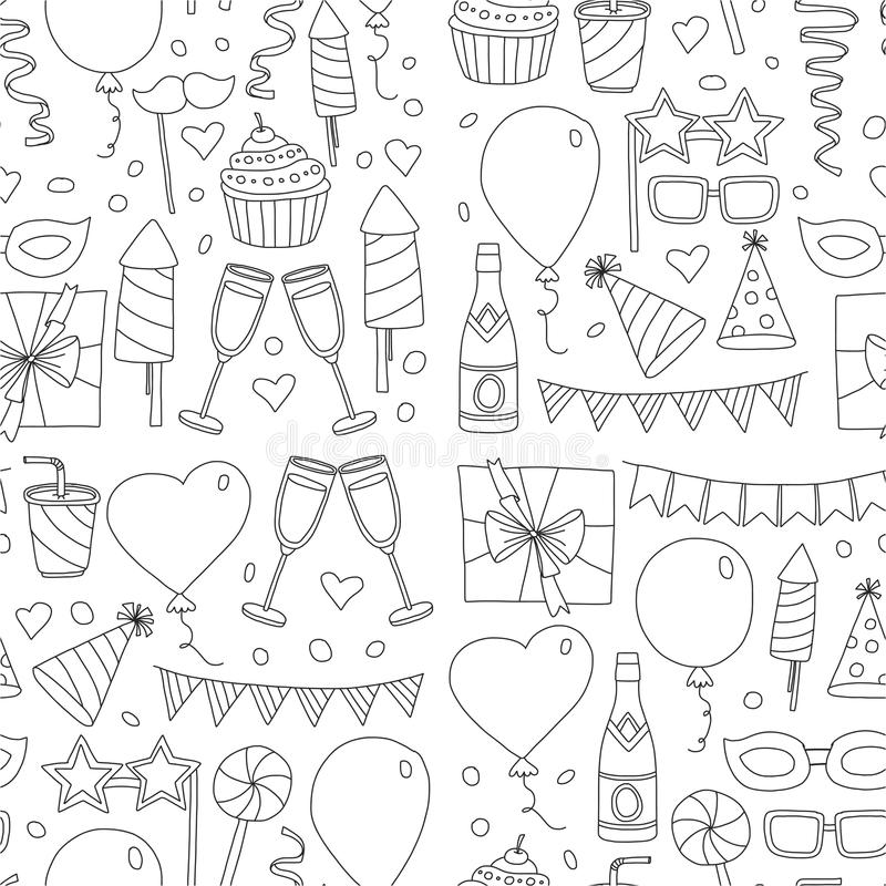 Set of birthday party design elements. Kids drawing. Doodle icons Colorful balloons, flags, confetti, cupcakes, gifts royalty free illustration