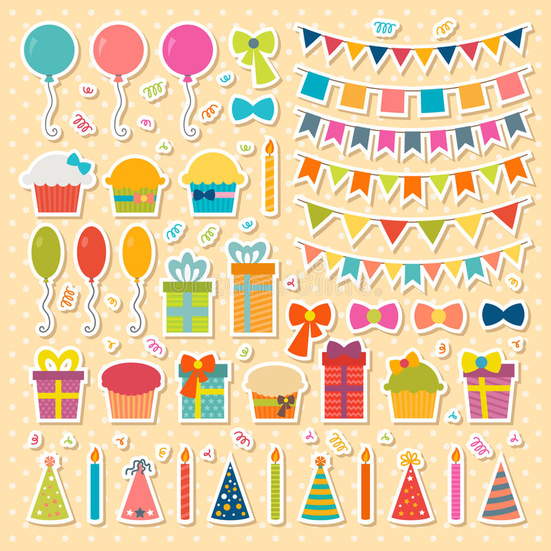 Set of birthday party design elements, stickers. Colorful stock illustration