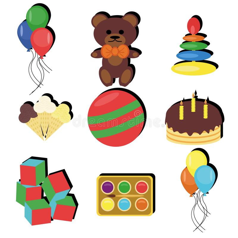 Set with birthday party objects stock photo