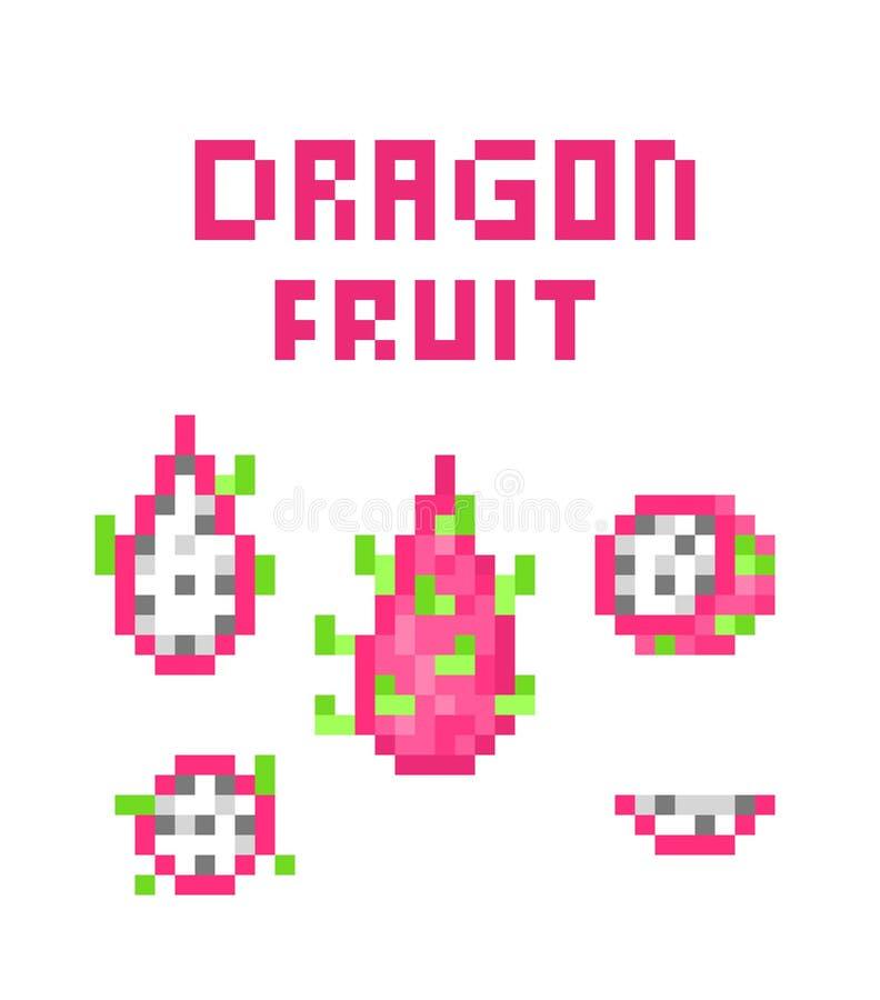 Set of 8 bit pixel art pink dragon fruit pitaya; pitahaya symbols isolated on white background. Exotic tropical fruit icon stock illustration