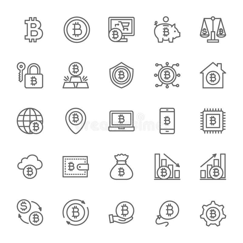 Set Bitcoin i Cryptocurrency linii ikony Paczka 48x48 piksla ikony royalty ilustracja