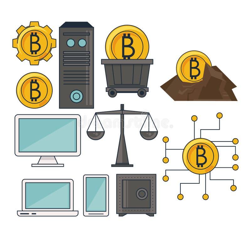 Set bitcoin mining stock illustration