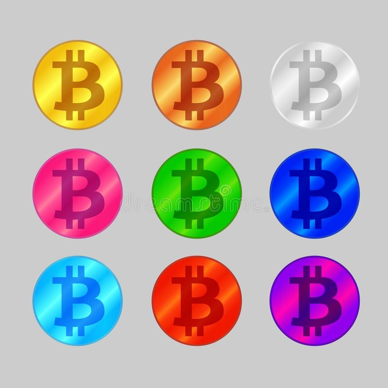 Set bitcoin monety kolorów wielo- ikona na popielatym tle, symbolu bitcoin kolorowy logo, cryptocurrency bitcoin monety symbol ilustracji
