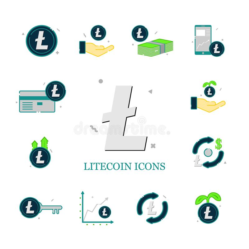 Set of litecoin vector icons. royalty free stock photography