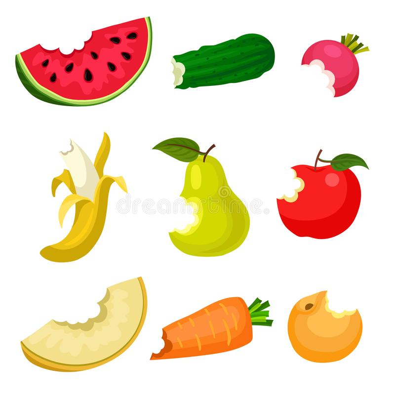 Flat vector set of bitten fruits and vegetables. Natural and tasty food. Healthy nutrition. Design for poster, banner or. Set of bitten fruits and vegetables royalty free illustration