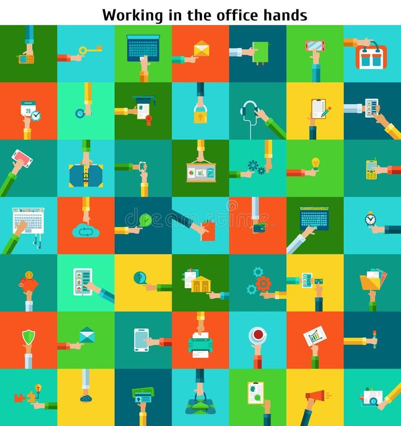 Set biurowe działanie ręki ilustracja wektor