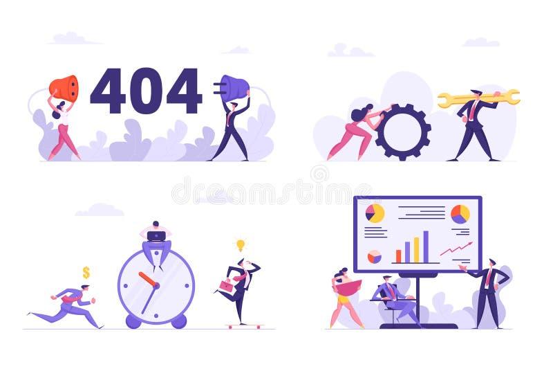 Set Biurowe sytuacje, 404 błąd, połączenia z internetem zakłócenie, pomoc techniczna charaktery z Ogromnym wyrwaniem royalty ilustracja