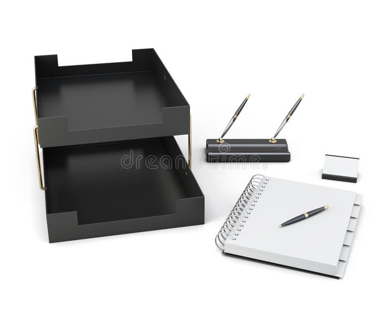 Set biurowi akcesoria odizolowywający na białym tle 3d ren ilustracji