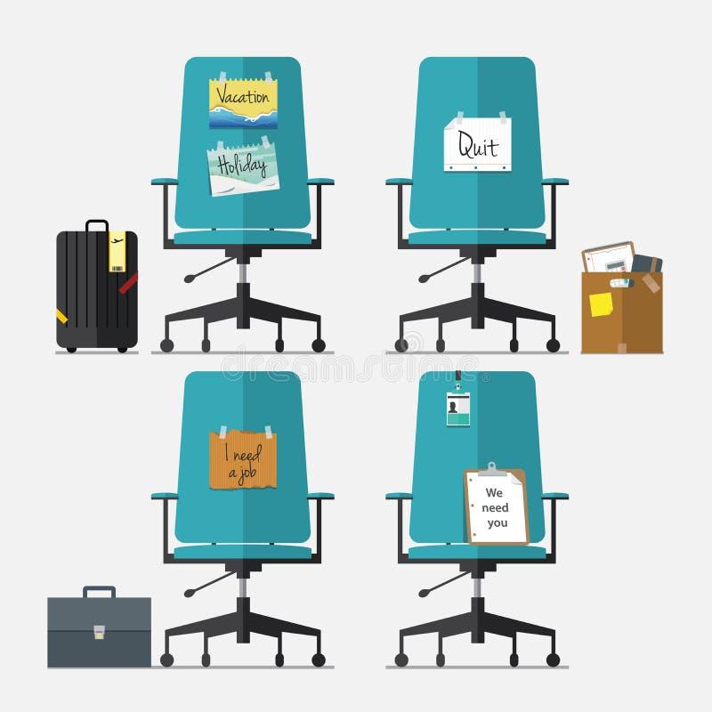 Set biurowy krzesło w płaskim projekcie z rezygnuje wiadomości, wakacje lub wakacje wiadomość, potrzebuję akcydensową wiadomość i ilustracji