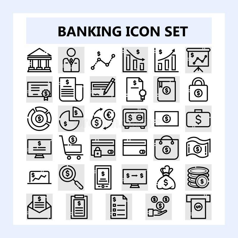 Set 30 biznes, bankowość i finanse ikona, W nowym stylu w NBA lub Niepowiązany ze sobą konturu stylu ilustracja wektor