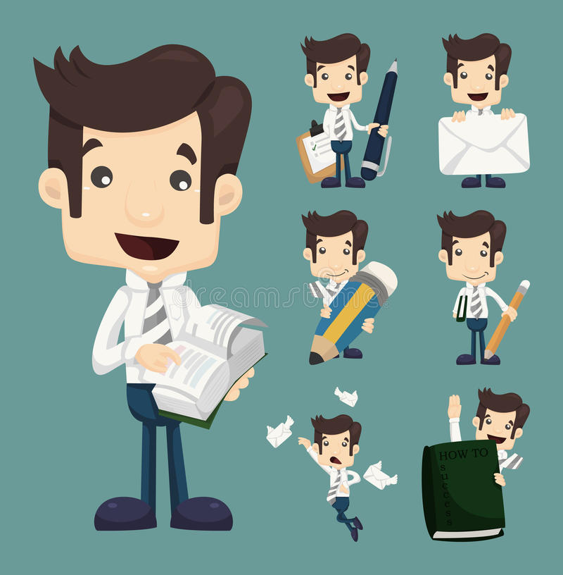 Set biznesmenów charakterów pozy, urzędnik royalty ilustracja