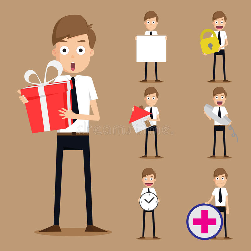 Set biznesmenów charaktery ilustracji