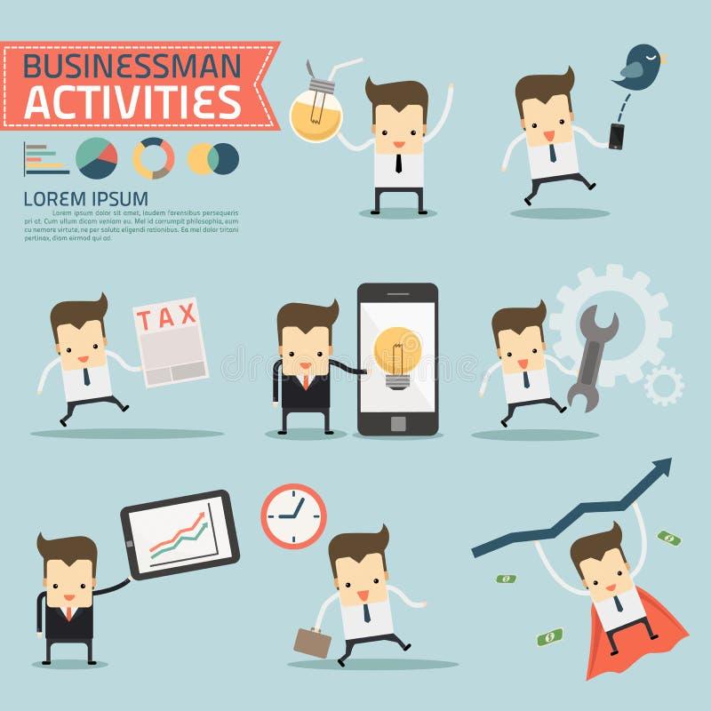 Set biznesmen aktywność ilustracji