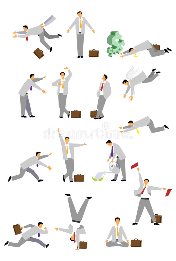Set biznesmen w różnorodnych pozach zdjęcia stock