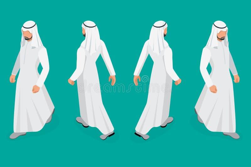 Set biznesmena Arabski mężczyzna na białym tle Isometric charakter pozy Kreskówek ludzie Tworzy twój swój projekt dla royalty ilustracja