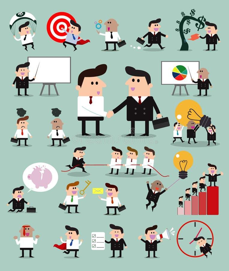 Set biznesmena charakter, Grupowy kreskówka biznesmen, set biznesmen aktywność, Wektorowa ilustracja royalty ilustracja