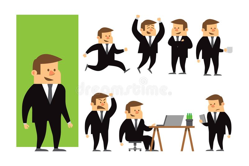 Set biznesmena charakteru projekt Charakter dla twój projec ilustracji