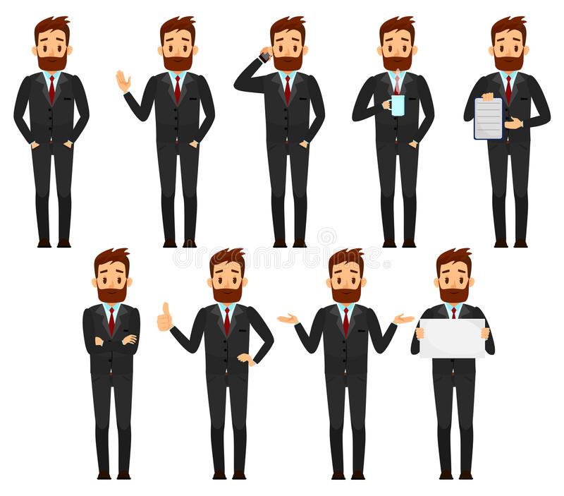 Set biznesmena charakteru projekt Samiec w kostium kreskówki wektoru ilustraci royalty ilustracja