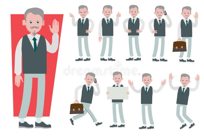 Set biznesmena charakteru wektorowy projekt robi różnemu gestu ilustracji