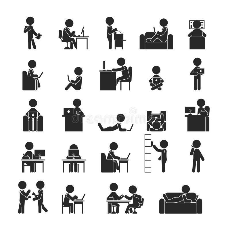 Set biznesmena działanie, Ludzkie piktogram ikony ilustracji