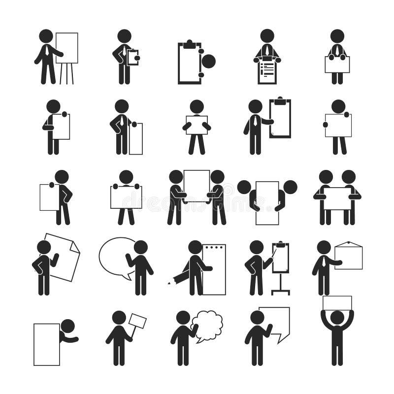 Set biznesmena mienia puste notatki, Ludzkie piktogram ikony ilustracja wektor