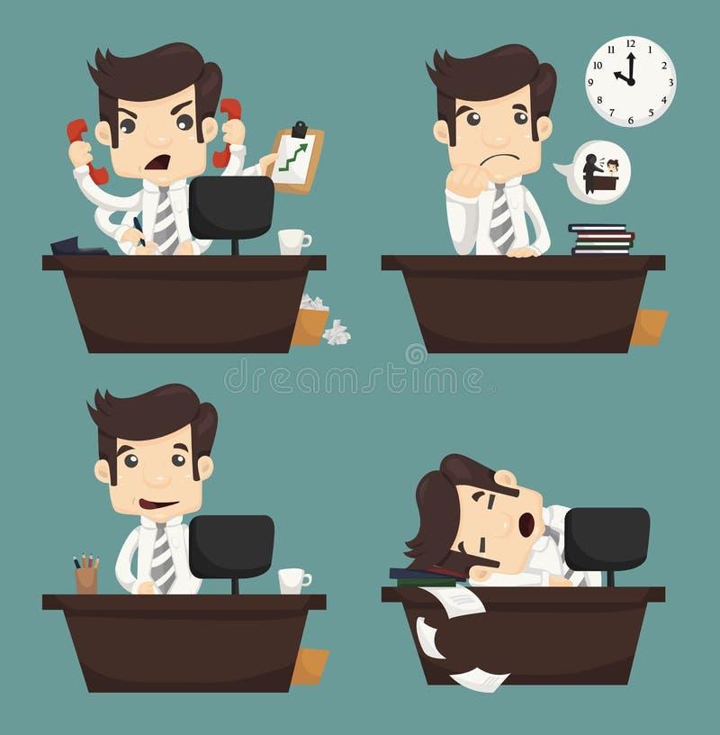 Set biznesmena obsiadanie na biurku, urzędnik royalty ilustracja