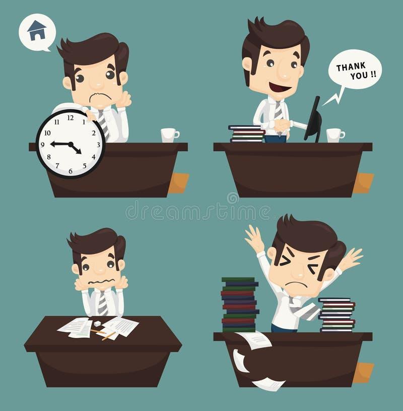 Set biznesmena obsiadanie na biurku, urzędnik ilustracja wektor