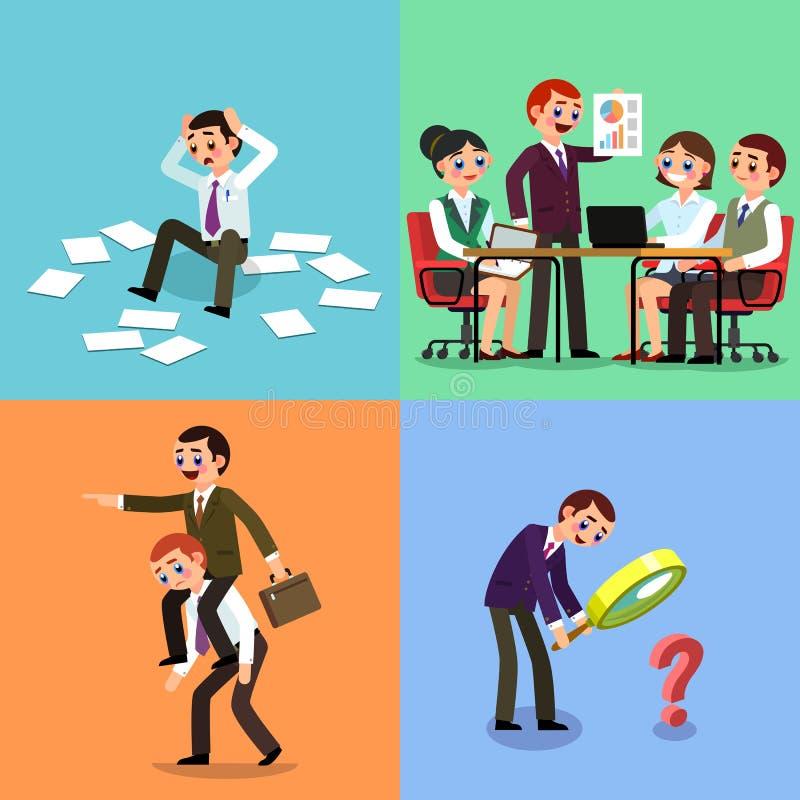 Set biznesowa ilustracja Pracujący mężczyźni i kobiety zdjęcia royalty free