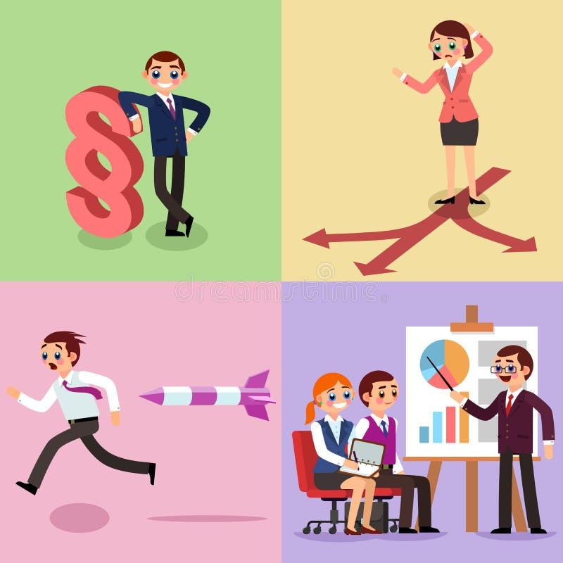 Set biznesowa ilustracja Pracujący mężczyźni i kobiety obrazy royalty free